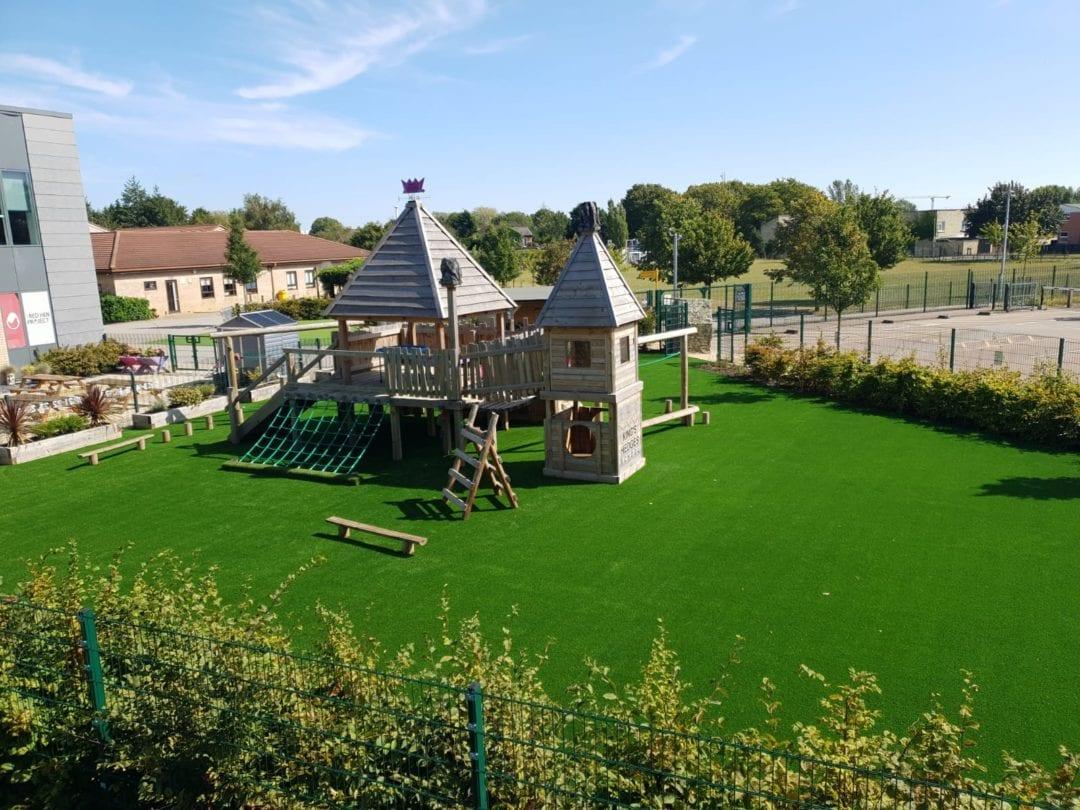 artificial grass school installation in cambridgeshire