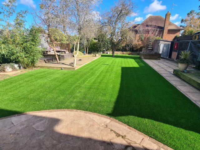 Large garden artificial grass transformation 2