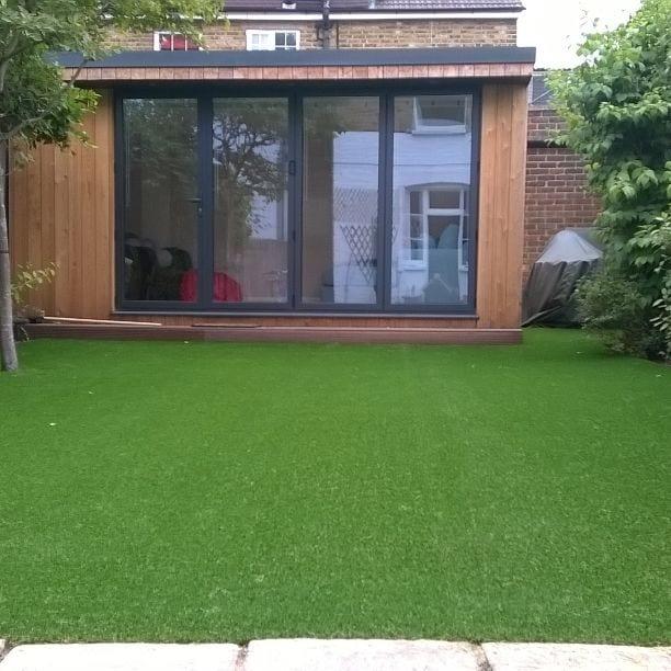 synthetic grass garden installation