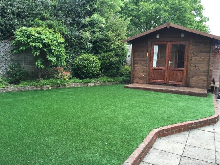 shaded fake grass installation