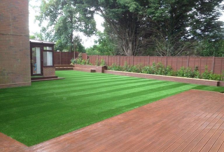 striped artificial grass garden installation