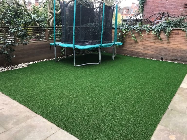 artificial grass trampoline space