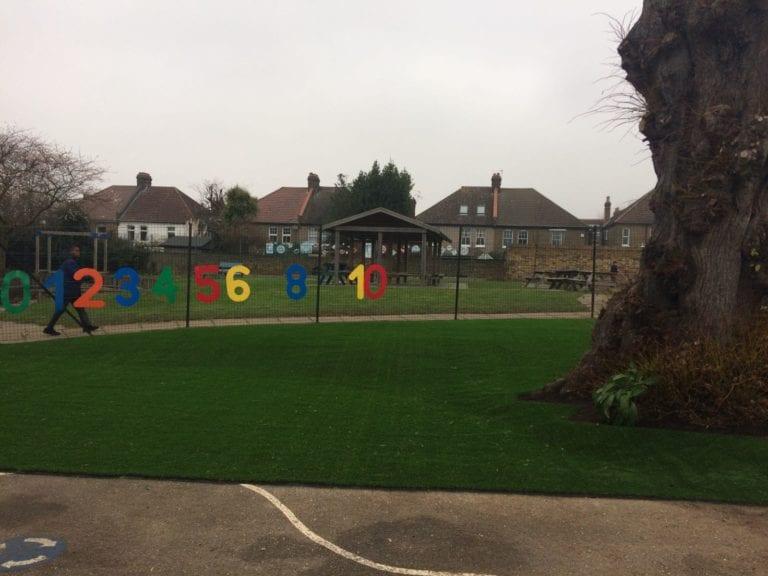 Catholic Primary School fake grass installation