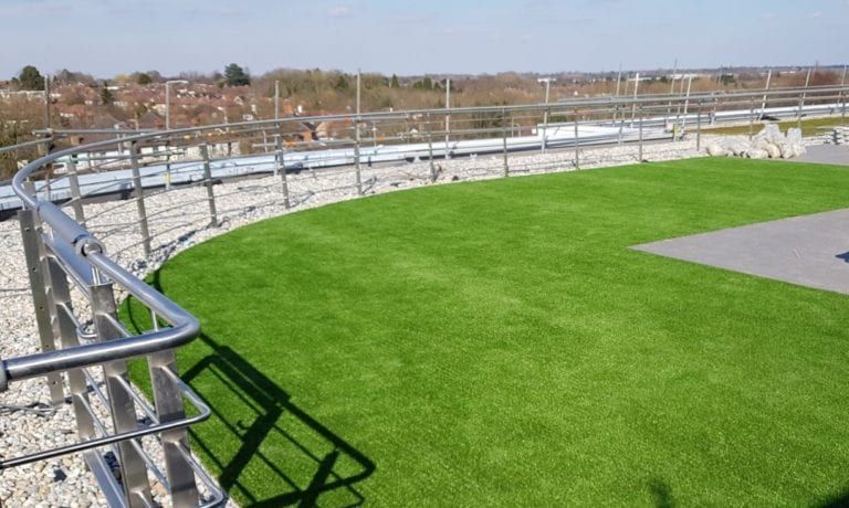 artificial grass roof installation