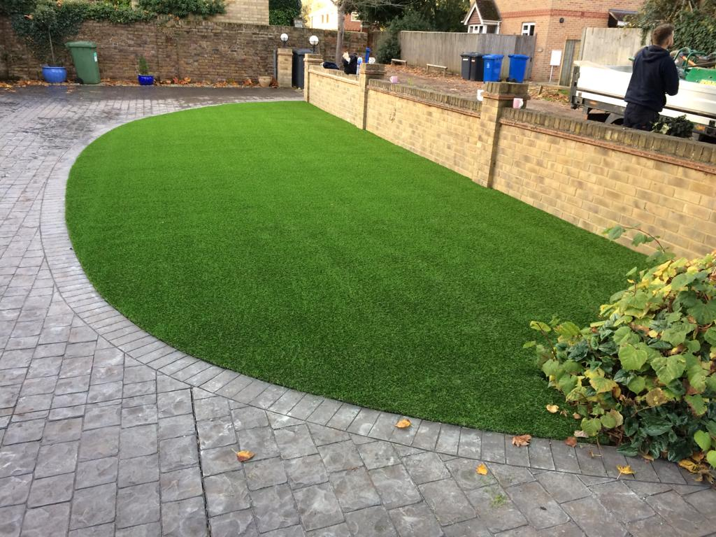 artificial front lawn installation