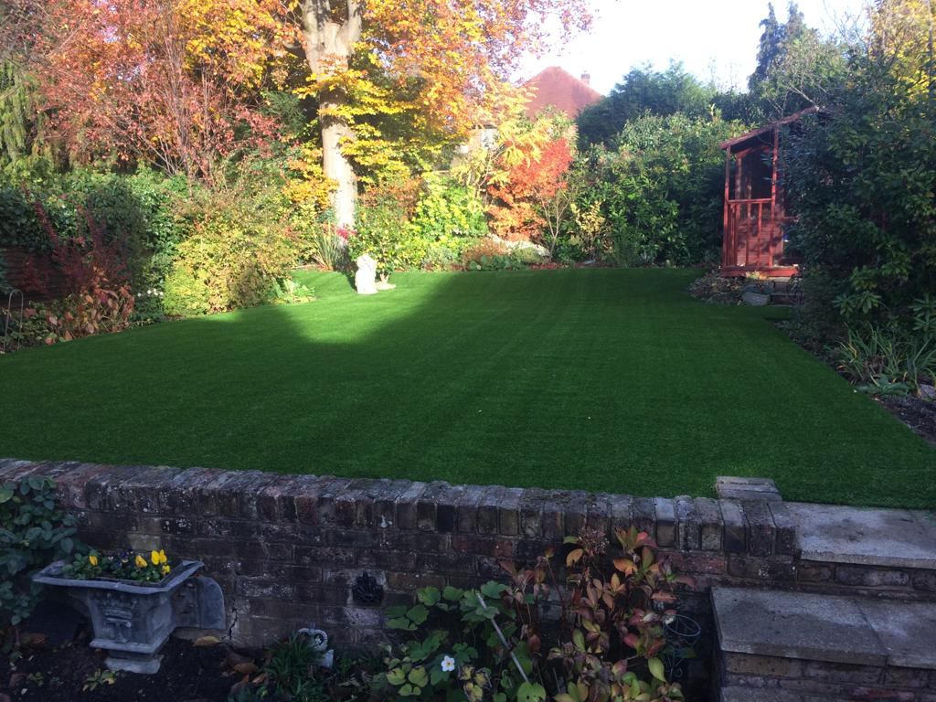 Autumn artificial grass garden