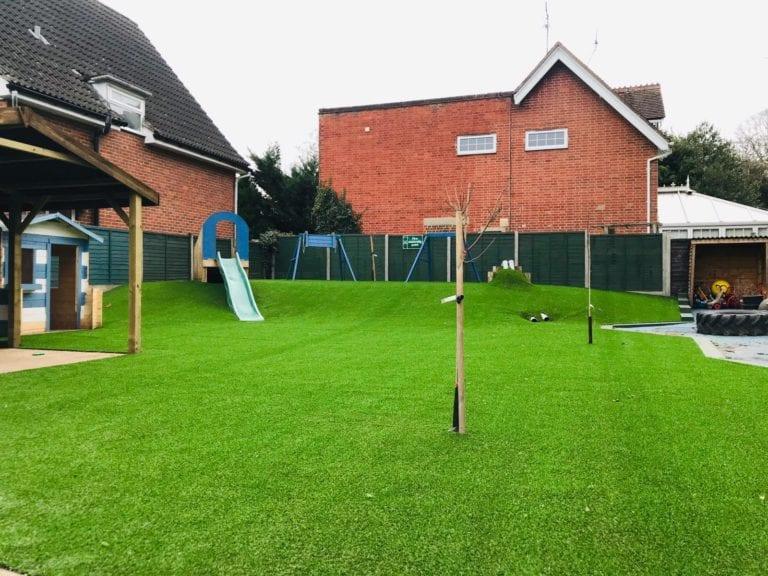 Woking nursery grass installation