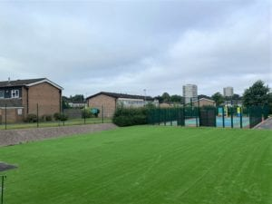 Birmingham school grass installation