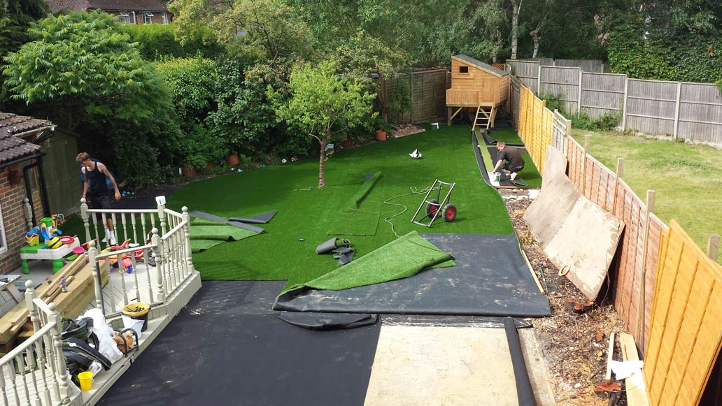 Example of artificial lawn installation